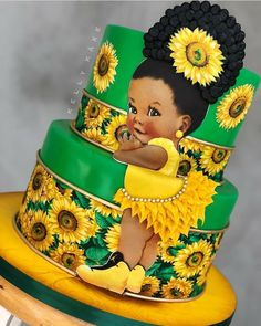 Baby Cakes, Baby Shower Cakes, Gateau Baby Shower, Baby Shower Themes, Sunflower Party, Sunflower Cakes, Sunflower Baby Showers, Baby Shower Yellow, Baby Shower Princess