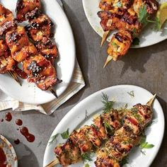 Perfect Chicken Kabobs Recipe from Southern Living - pair with Sticky Sesame-Sorghum Marinade, Chardonnay-Herb Marinade, or Buttermilk Tandoori Marinade