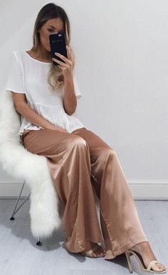 #fall #outfits · White T-shirt + Satin Trousers