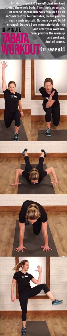 Tabata Workout to Tone Everyting in 10 Minutes! #tabata #workout #exercise…