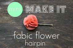 fabric flower hairpin