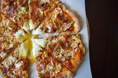 Crispy Prosciutto, Leek & Egg Pizza | Pizza & Champagne