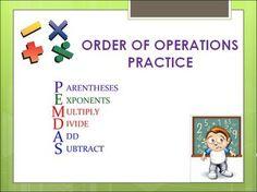 Order of operations homework