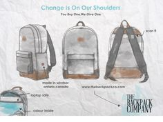 For every backpack you buy, The Backpack Company give one filled with school supplies to a child stricken by poverty.