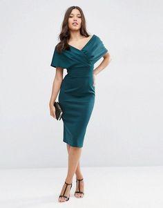 fcda068160 ASOS | ASOS Premium Fold Scuba Cape Midi Bodycon Dress Asos Premium, Grad  Dresses,