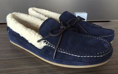 New Cole Haan Savin Hill Slipper House Shoes size 10 $100 Blazer Blue Faux Fur #ColeHaan #MoccasinSlippers