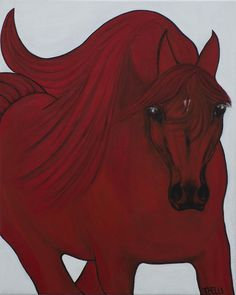 Red Arabian Passion 3 Painting by THELLI  Helenia Tedesco