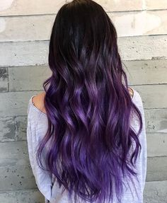 Purple black hair color and also long hair cuts. Colored hair coloring and purple black hair color. Biolage hair type about purple black hair color. Purple Black Hair, Dark Ombre Hair, Hair Color Purple, Color Black, Pink Purple, Ombre Hair Lavender, Ombre Colour, Bright Purple, Black Dark