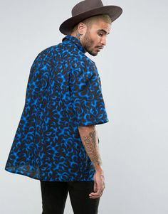 Reclaimed Vintage Inspired Oversized Shirt In Flame Print - Blue