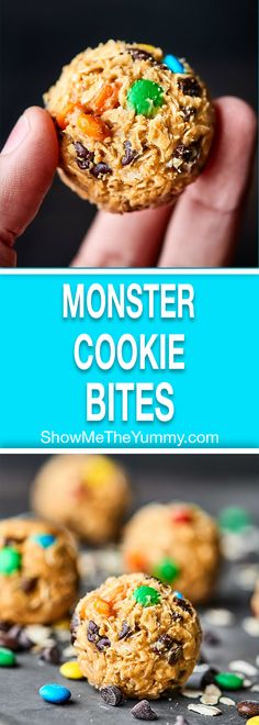 These No Bake Monster Cookie Bites only require 5 minutes of prep and 5 ingredients: peanut butter, honey, oats, chocolate chips, and M&Ms! showmetheyummy.com #candy #cookies