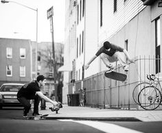 Back cover bros. Josh Stewart films Zered Bassett kickflip from curb cut to curb cut in Brooklyn NY. @mystaticlife