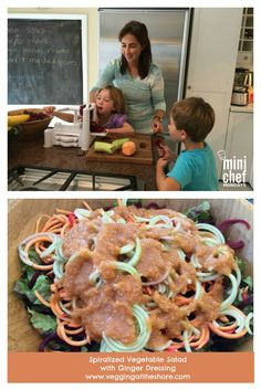 Want your kids to eat more vegetables? This delicious and easy salad is fun to make with kids. Spiralize beets, sweet potatoes and cucumbers and toss that with a simple and healthy ginger dressing.