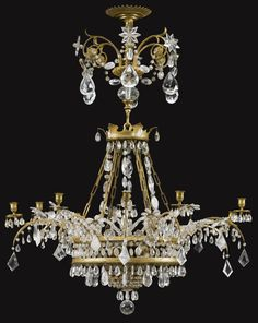 A Baltic gilt-bronze-mounted rock crystal, cut-and blue-glass chandelier  late 18th century