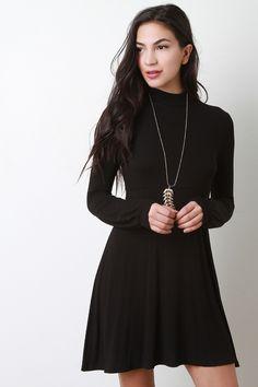 Mock Neck Long Sleeve Dress