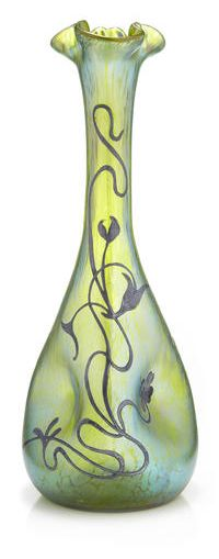 ❤ - Loetz | A silver overlaid Loetz iridescent glass pinched vase - 1900.