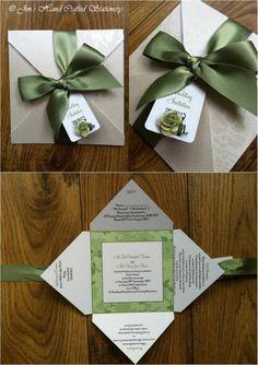 Sage green rose Fold Over Wedding Invitation  www.jenshandcraftedstationery.co.uk www.facebook.com/jenshandcraftedstationery