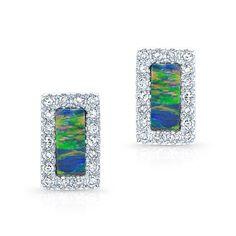 "14KT White Gold Opal Diamond Bar Stud Earrings Measures approximately 1/4"" in length"