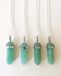 Aventurine Crystal Point Silver Necklace
