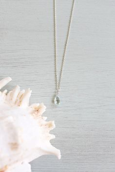 Small Aquamarine Necklace - Tiny Blue Aquamarine Faceted Teardrop Necklace - Genuine Aquamarine Crystal Necklace - March Birthstone Necklace