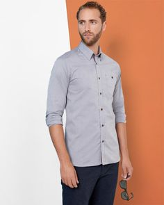Discover men's shirts from Ted Baker. His wide-ranging collection boasts bespoke prints, luxury fabrics and the finest fits to create your day or evening look. Mens Designer Shirts, Grey Shirt, Ted Baker, Chef Jackets, Oxford Shirts, Shirt Designs, Men Casual, Shirt Dress, Mens Tops
