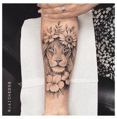 Animal Tattoos For Women, Hip Tattoos Women, Dope Tattoos, Sleeve Tattoos For Women, Body Art Tattoos, Small Lion Tattoo For Women, Tatoos, Women Sleeve, Feminine Tattoos