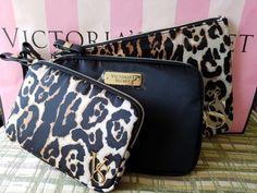 Victoria's Secret Leopard Wristlet Set of 3