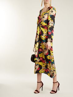 Floral-print silk wrap-style gown Peter Pilotto AhPlkrb