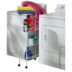 Laundry Cart - Slim 3 Tier White by Household Essentials™