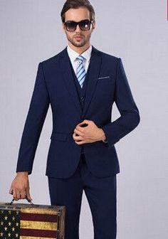 Retro gentleman style Men's suits for men 3 piece (Jacket+Pants+Vest) Business Fashion Skinny Casual Suits Set Prom Dresses