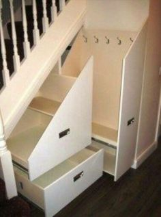 Storage solutions- if only our crawl space wasn't under the stairs. Storage solutions- if only our crawl space wasn't under the stairs. Staircase Storage, Hallway Storage, Hallway Closet, Coat Hooks Hallway, Grey Hallway, Hidden Storage, Diy Storage, Under Stair Storage, Storage Hooks