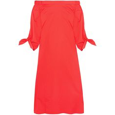 Tibi Off-the-shoulder cotton-poplin midi dress ($470) ❤ liked on Polyvore featuring dresses, red off the shoulder dress, mid calf dresses, tibi dresses, off the shoulder dress and tie knot dress