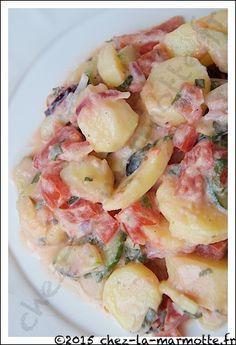 Salade de pommes de terre à la grecque Greek Potato Salads, Greek Potatoes, Greek Cooking, Cooking Time, Vegetarian Recipes, Cooking Recipes, Healthy Recipes, No Salt Recipes, Food To Make