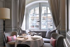 A cozy corner to enjoy the view while dining - Romancing the Home - A Guide to Romantic Interiors Hotel Room Decoration, Room Decorations, Parisian Room, Parisian Chic, Paris Apartment Decor, 29 Rooms, Cozy Corner, Commercial Interiors, House Colors