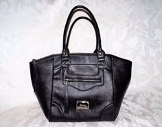 NINE WEST SATCHEL, Black Pebble finish accent Double Strap Elegant Handbag  #NineWest #Satchel