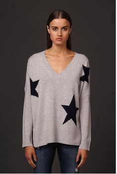 360 CASHMERE POWDER GREY CASSIE STAR PATTERN SWEATER