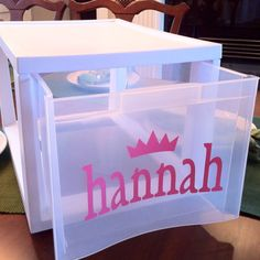Storage drawer personalized by using Cricut vinyl...maybe I can talk Deb or Vickie into helping me ;)