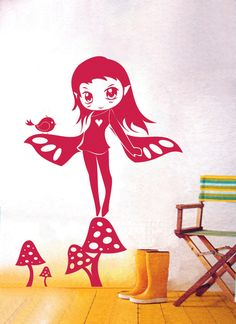 Wandtattoos - Wandtattoo Wandaufkleber Manga Fee auf Fliegenp... - ein Designerstück von IlkaParey bei DaWanda