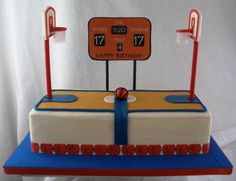 - The backboard was made with gum paste and left to dry for several days. The pole is a dowel that I painted with gel food coloring and then attached the backboard with fondant strips and let dry for a day and a half. The scoreboard is an edible image I printed.