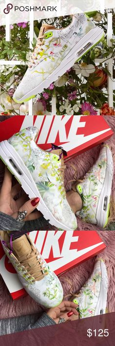 NWT Nike Air Max floral  Brand new with box,rare find!! It was already a classic kick, but it just got a remix — a super lightweight midsole/outsole combo keeps you cool and comfortable all day long.  Leather and textile upper. Visible Air-Sole unit in the heel for the iconic cushioning you know and trust. PU midsole unit doubles as the outsole, dramatically cutting down on weight. Rubber in high-wear areas of the outsole for durable traction where you need it most. Nike Shoes Sneakers