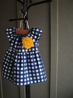 dress navy blue yellow white gingham baby girl by redpajamas