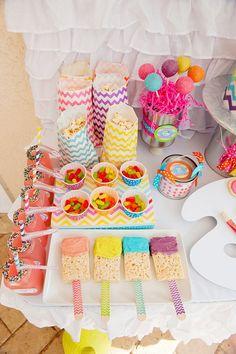 chevron rainbow art party dessert table top down