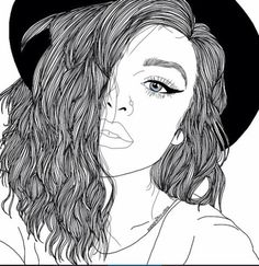 Images of black outline drawings - Tumblr Girl Drawing, Art Tumblr, Tumblr Drawings, Tumblr Girls, Tumblr Outline, Outline Art, Outline Drawings, Cute Drawings, Girl Drawings