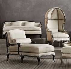 Laurent Salon Bench - Restoration Hardware  This style is sleek and compact and suitable for apartment living.