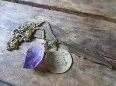Follow Your Bliss Amethyst and Feather by ChrissyGemmillJewels, $50.00