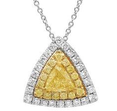 Shy Creation fancy yellow diamond trillion pendant