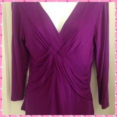 """Feeling Fab In Fuchsia"" fun top NWT Sweet and delicious new top by Cable and Guage. Pull over with a soft draping crisis cross v neck line. 3/4 sleeves. 97% viscose and 2% spandex. Beautiful and flattering top!! Has label tags, no price tag. Cable & Gauge Tops"