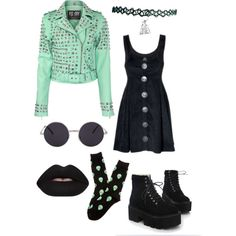 Mint alien goth by psychara on Polyvore featuring mode, K. Bell and Lime Crime