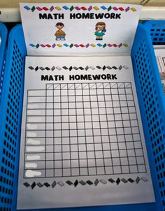 Homework Organization:  Each basket has a checklist for student to check off their names as they turn in their homework.