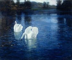 FRITS THAULOW (1847-1906)swans-on-the-river