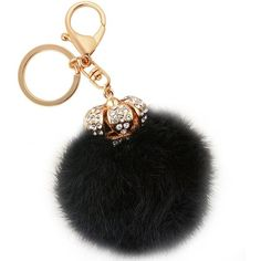 Amazon.com: Jiann Creative Furry Ball Crown Keychain High Quality Long... ($15) ❤ liked on Polyvore featuring accessories, long key chains, fob key chain, blue crown, crystal crown and crystal key chain